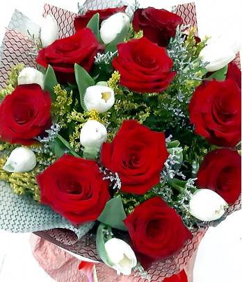 1 Dozen Red Ecuadorian Roses and 1 Dozen White Tulips