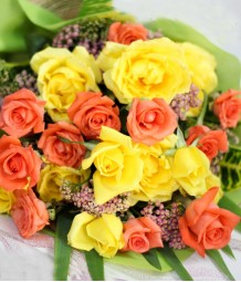 1 Dozen Yellow and 1 Dozen Peach Rose (Round Bouquet)