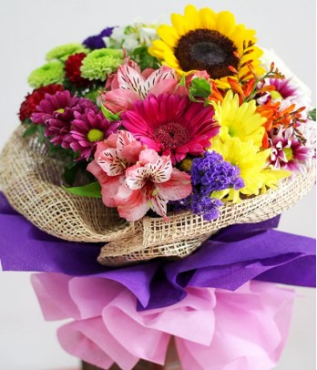 A Bouquet of Mixed Colorful Flowers