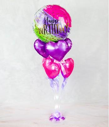 Happy Birthday Balloon with Hearts and Fairylight