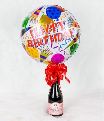 Happy Birthday Balloon with Wine