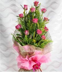 1 Dozen Pink Roses