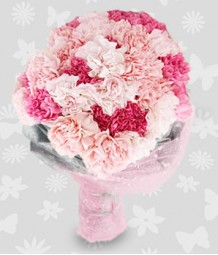 2 dozen of pink and peach carnations