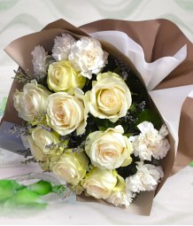 1 Dozen White Imported Roses and White Carnation