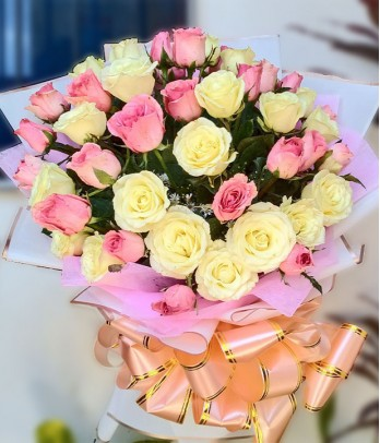 2 Dozen Pink and 2 Dozen White Roses