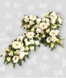 Casket of cross white flowers